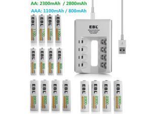 Lot 800mAh 1100mAh AAA / 2300mAh 2800m AA Rechargeable Batteries +USB DC Charger