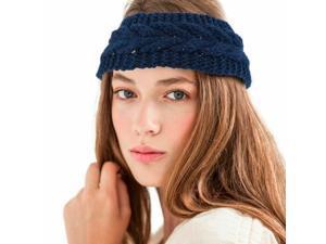 Dark Blue Women Winter Crochet Knit Knitted Wool Hat Headband Headwrap Ear Band