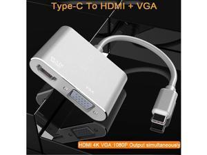 USB3.1 Type-C to HDMI + VGA Docking Station USB C Hub Adapter for iPad Pro  Samsung Huawei USB C HDMI