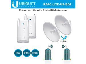 Ubiquiti Rocket ac R5AC-Lite 2 Units airMAX ac BaseStation 5GHz with (2-Units) RocketDish Antenna RD-5G30-LW 30dBi 2x2 (2-Units)