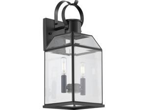 Canton Heights 2-Light 18 In. Matte Black Outdoor Wall Lantern With Clear Bevele