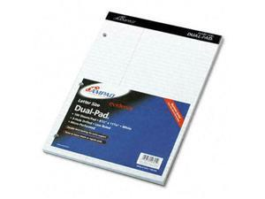 Ampad 20-345 Evidence Dual Ruled Pad- Law Rule- 8-1/2 x 11-3/4- White- 100 Sh...