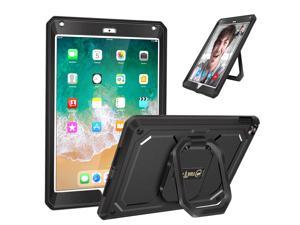 Fintie Case for iPad 9.7 Inch 2018/2017 - [Tuatara Magic Ring] 360 Rotating Multi-Functional Grip Stand Shockproof Fully-Body Rugged Cover with Built-in Screen Protector, Also Fit iPad Air 2, Black