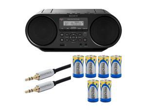 Sony ZSRS60BT CD Boombox with Bluetooth and NFC (Black) with 10ft AUX Cable and 6 C Batteries