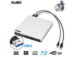 KuWFi External Blu Ray Drive USB 3.0 Player External CD/DVD Burner/Writer Blu-Ray Portable Drive Optical Drive Support 3D for MAC PC Laptop Notebook