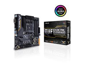 Asus TUF B450M-Pro Gaming AMD Ryzen 3 AM4 DDR4, HDMI, Dual M.2, USB 3.1 Gen 2 and Aura Sync RGB LED Lighting Micro-ATX Motherboard