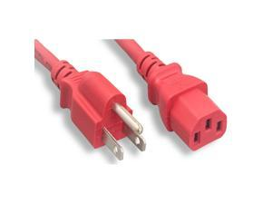 MICRO CONNECTORS UL Approved 6ft 18AWG 10 Amp Power Cord (NEMA 5-15P/ C13) - Red (M05-113ULR)