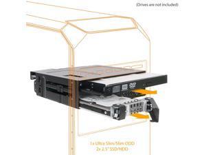 "ICY DOCK 2 x 2.5 SAS/SATA SSD/HDD & (Ultra) Slim Optical Disk Drive CD DVD ROM Backplane Cage for 5.25"" Bay - ToughArmor MB602SPO-B"