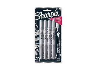 Sharpie 39109PP Metallic Permanent Markers, Fine Point, Silver, 4 Count