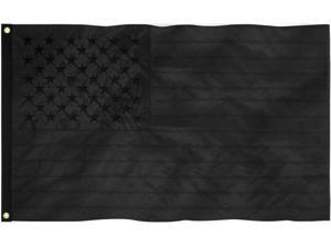 All Black American Flag 3x5 ft 210D Embroidered US USA Blackout Tactical GROMMET