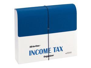 Smead All-in-One Income Tax Organizer with Flap and Cord Closure, 13 Pockets, Letter Size, Blue/White (70660)