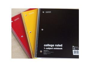 Staples College Ruled 1-Subject Notebook 70 Sheets 3 Pack Variety of Cover Colors