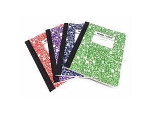 Staples Wide-Rule Composition Book 9-3/4 Inch x 7-1/2 Inch, Assorted Colors (4 Pack)