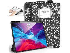 Supveco Book Case for iPad Pro Case 12.9 Inch 2021 & 2018 Full Body Protection iPad Pro 12.9 Case with Pencil Holder, Supports Pencil 2 Wireless Charging Auto Wake/Sleep, Soft TPU Cover (Book Black)