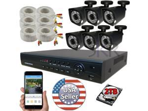 Sikker 8 Channel High Definition 1080P DVR 6 pcs Security Camera System 2TB HDD