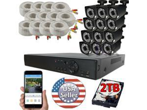 Sikker 16 Ch Channel DVR 12 pcs 1080P Security Camera System with 2TB hard drive