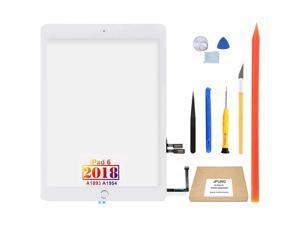 """JPUNG Touch Screen Replacement for iPad 6 6th Gen Digitizer 2018 9.7"""", Only for iPad 6th Generation A1893 A1954, with Home Button(No Touch IC), Full Repair Kit"""