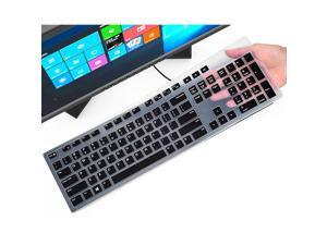 Keyboard Cover Skin for Dell KM636 Wireless Keyboard/Dell KB216 Wired Keyboard/Dell Optiplex 5250 3050 3240 5460 7450 7050/Dell Inspiron AIO 3475/3670/3477 All-in-one Desktop Keyboard Skin, Black