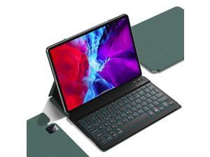 GUDOU 2021 3rd gen iPad Pro 11 Keyboard Case 2020/2018(2nd/1st),iPad Air 4th 10.9 Backlit Detachable Keyboard,Ultra Slim Magnetic PU Cover,Auto Sleep/Wake,Support Pencil 2 Charging(Dark Green)