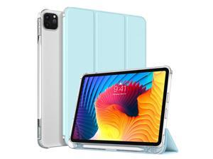 """TiMOVO Case for New iPad Pro 11 inch 2021 (3rd Gen) with Pencil Holder, [Support 2nd Gen APPLE Pencil Charging] Slim TPU Back Protective Case with Auto Sleep/Wake fit iPad Pro 11"""" 2021 - Sky Blue"""
