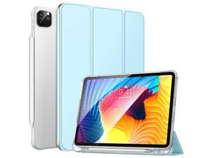 """MoKo Case Fit New iPad Pro 11 Inch Case 2021 (3rd Gen) with Apple Pencil Holder, Soft TPU Smart Trifold Stand Translucent Back Case for iPad Pro 11"""" 2021, Auto Wake/Sleep, Sky Blue"""