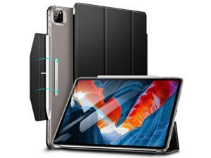 ESR Trifold Case Compatible with iPad Pro 12.9 2021, Translucent Stand Case with Clasp, Auto Sleep and Wake, Pencil 2 Wireless Charging, Ascend Series, Black