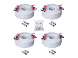ZOSI 4 Pack 150ft (45 Meters) All-in-One Video Power Cable, BNC Extension Surveillance Camera Cables for Video Security DVR Camera Systems (Included 4X BNC Connectors and 4X RCA Adapters)-White Color