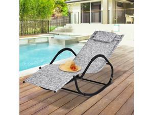 Po Rocking Lounge Chair Chaise Rocker Grey