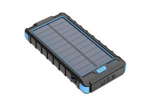 Waterproof USB Portable Solar Charger Solar Power Bank For Phones Blue