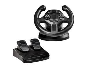 Driving Game Racing Steering Wheel + Brake Pedals USB Vibration for PS3/PC