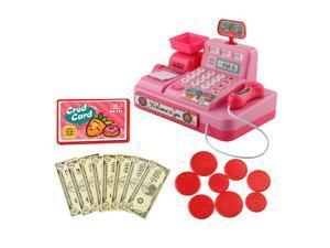 Kids Supermarket Pretend Play Set Cash Register Cashier Toys Gift Pink
