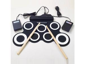 Portable Roll Up Drum Pad Kit with Built-in Speaker Drum Pedals Drumsticks 1