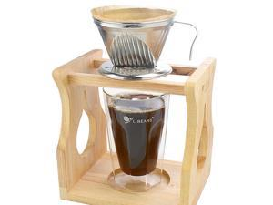 Stainless Steel Pour Over Cone Dripper Coffee Filter Strainer Holder Silver