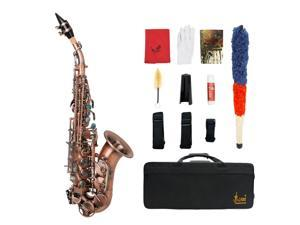 LADE S97 Soprano Saxophone Brass B flat Vintage Style Abalone Red Antique
