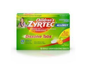 Zyrtec Dissolved Twent Four Hour Allergy Relief Tablets With Cyrizine, Citrus Flavor, 12 Count