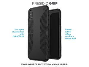 Speck Presidio Grip Cell Phones Case for Apple iPhone XS Max with Dual Layered Drop Protection, Black