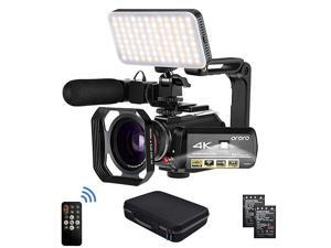 Camcorder 4k Video Camera  HD 1080P 60FPS Vlog Camera IR Night Vision Video Recorder 31 IPS WiFi Camcorder with Microphone LED Light WideAngle Lens Handheld Holder and Carrying Case