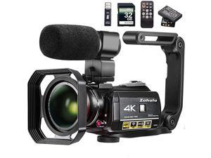 Video Camera 4K Camcorder  WiFi Ultra HD Vlog Camera for YouTube 31 IPS Screen 30X Digital Zoom Night Vision Video Recorder with Microphone Wide Lens Lens Hood 32GB SD Card 2 Batteries
