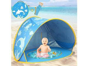 Baby Beach Tent with Pool2020 Upgrade Easy Fold Up amp Pop Up Unique Ocean World Baby Tent50+ UPF UV Protection Outdoor Tent for Aged 04 Baby Kids Parks Beach Shade Blue