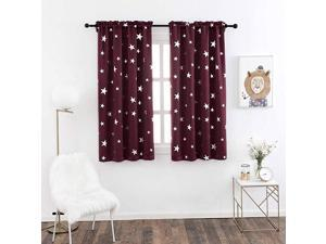 Blackout Curtains for Living Room 2 Panels with Silver Star Rod Pocket Top Window Treatment for Home Décor 38 x 45 Inches Red