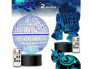 Bases Star Wars Gifts 3D Illusion Lamp Star Wars Toys LED Night Light for Kids Room Decor 4 Patterns 7 Color Change with Remote Timer 00 Cool Gifts for Men Star Wars Fans Boys Girls Birthday