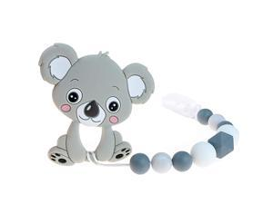 Teething Toys BPA Free Silicone Teether Pain Relief Toy with Pacifier Clip Holder Set for Girls Boys Infant Newborn Christmas Shower Birthday Gray