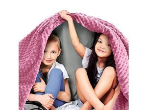 Premium Kids Weighted Blanket amp Removable Cover 7 lbs 41quotx60quot for a Child Between 7090 lbs Single Size Bed Premium Glass Beads CottonMinky GreyPink Color