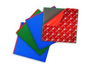 PeelandStick Baseplates Self Adhesive Building Brick Plates Compatible with All Major Brands 4 Pack 2 Green 2 Blue 10 inch x 10 inch