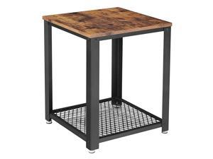 Industrial End Side Table 2Tier Nightstand with Storage Shelf Sturdy and Easy Assembly Wood Look Accent Furniture with Metal Frame ULET41X 177quotL x 177quotW x 217quotH Rustic Brown