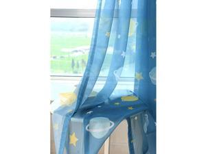 1 Panel Space Exploration Planet and Star Pattern Lovely Rod Pocket Sheer Curtain Drape Tulle Panels Decorative Window Treatment Kids Room Curtains Blue for BoysGirls Room W52 x L84 inch