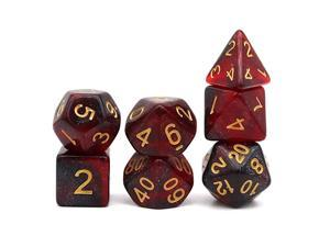 DND Dice Set Polyhedral DampD Dragon Dice for Dungeons and Dragons Pathfinder RPG Red Black Nebula
