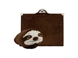 Sloth Stuffed Animal Blanket Kids All in One Loveable Fleece Pillow Stuffed Animal and Blanket for Play Nap Time Travel