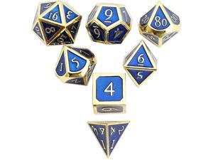 DND Polyhedral Metal Game Dice Gold Blue 7pc Set for Dungeons and Dragons DND RPG MTG Table Games D4 D6 D8 D10 D12 D20
