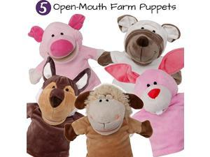 Set Animal Hand Puppets with Open Movable MouthZoo Safari Farm JungleCow Duck Brown Dog Frog and Donkey